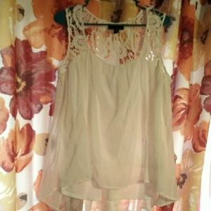 GUC CYNTHIA ROWLEY XL WHITE/IVORY SHEER EMBROIDERE